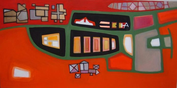 case sparse - Painting,  120x60 cm ©2004 by Pier Maurizio Greco -