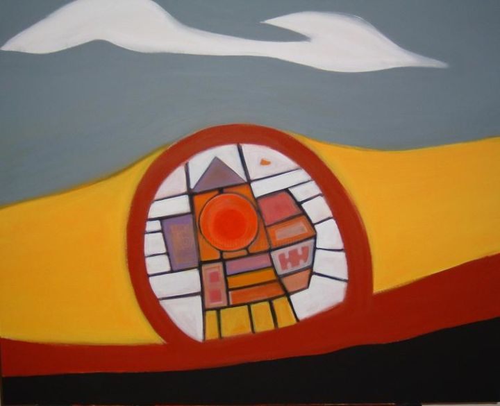 insula - Painting,  31.5x39.4 in, ©2004 by Pier Maurizio Greco -