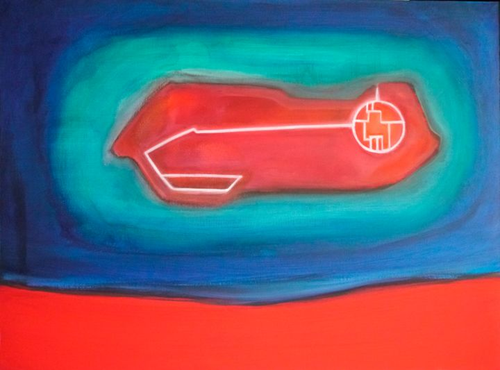 l'ultima isola - Painting,  60x80 cm ©2014 by Pier Maurizio Greco -                                        Abstract Art, Abstract Art