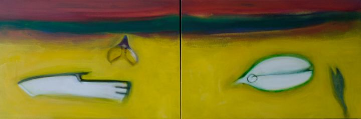 aspro giallo - Painting,  40x120 cm ©2015 by Pier Maurizio Greco -                                        Abstract Art, Abstract Art