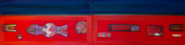 categorie itineranti - Painting,  40x160x4.3 cm ©2015 by Pier Maurizio Greco -                            Abstract Art, abstract art
