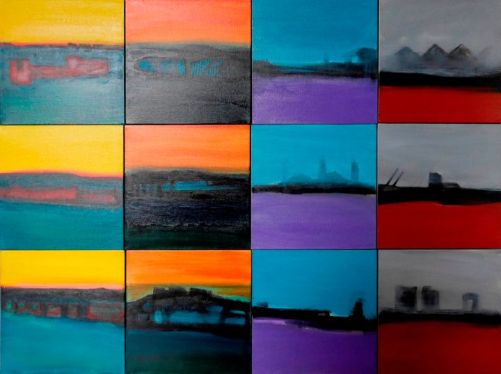 Piccoli Paesaggi Sognanti - Painting,  90x120x4.3 cm ©2016 by Pier Maurizio Greco -                                                                Abstract Art, Land Art, Contemporary painting, Landscape