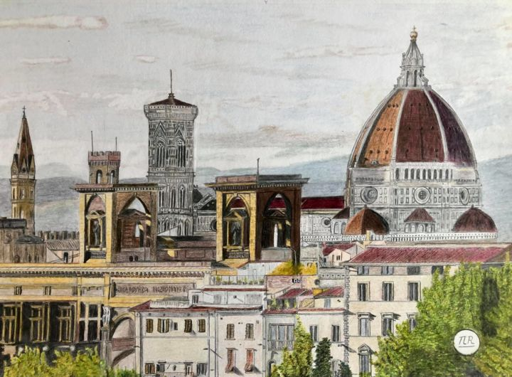 """Drawing titled """"Vue sur Florence"""" by Pierre Bayet, Original Art, Pencil"""