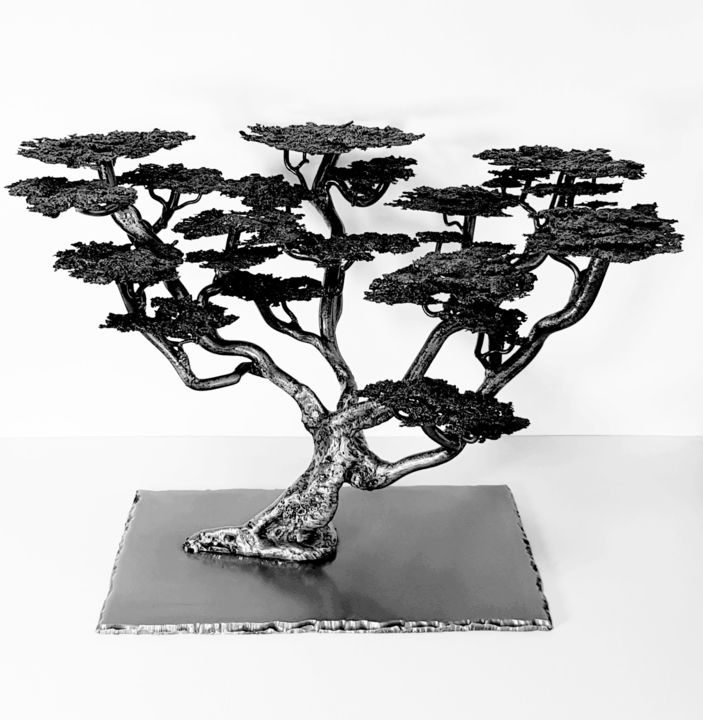 BANZAI METAL - Sculpture,  23.6x19.7x17.7 in, ©2019 by bouvet -                                                                                                              Metal, Tree