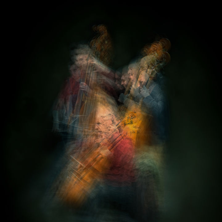 Ghost #20 - Photography,  19.7x19.7 in, ©2020 by PIERRE DUQUOC -                                                                                                                                                                                                                                                                                                                                                                                                                                                                                                                                                                                                                                                                                                                              Figurative, figurative-594, Abstract Art, Colors, Light, Music, Portraits, ghost, fantome, blur, flou, violon, musique, musiciens, opéra