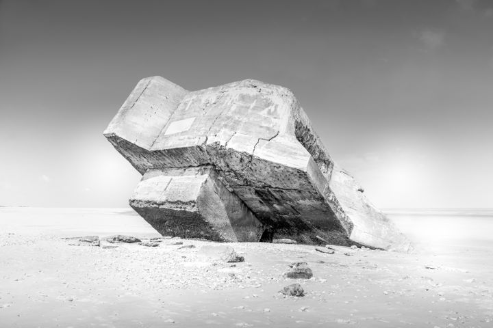 Bunker #1 - Photography,  19.7x29.5 in, ©2020 by Pierre Duquoc -                                                                                                                                                                                                                                                                                                                                                                                                                                                                                                                                              Conceptual Art, conceptual-art-579, Architecture, Colors, History, Black and White, Seascape, bunker, beton, atlantique, war
