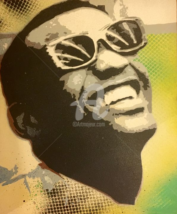 Ray_Charles.jpg - Painting,  21.7x18.1 in, ©2008 by Pierre-Henri Le-Defond -                                                                                                                                                                                                                                                                                                                                                                                                                                                                                                                                                                                                                                                                                                                                                                                                                      Pop Art, pop-art-615, Portraits, Ray charles, jazz, gospel, blues, country, soul, seattle, rock, chanteur, micro, lunettes, popart, andy warhol, portrait