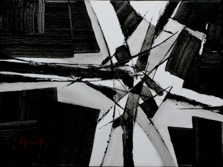 N 1201 - Painting,  30x40x2 cm ©2018 by Pierre MORICE -                                                            Abstract Art, Canvas, Abstract Art, abstraction noir et blanc
