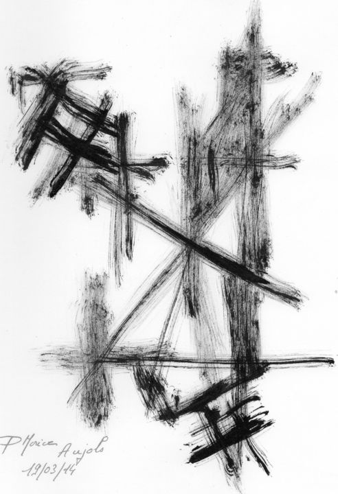Noir 70 - Drawing,  30x21 cm ©2014 by Pierre MORICE -                                                        Abstract Art, Paper, Abstract Art
