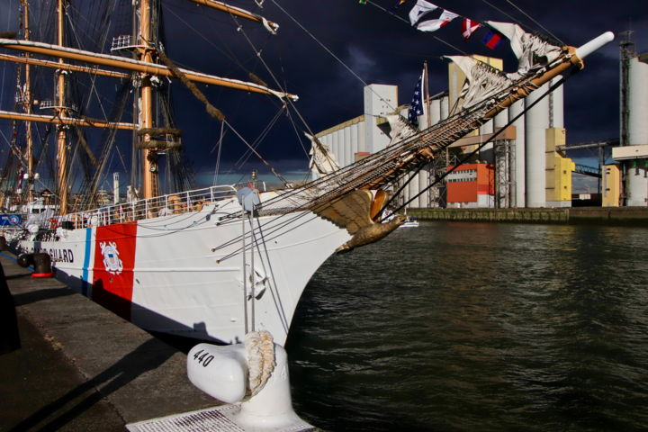 "Armada, Rouen, ""Eagle"" US Coast Guard - Photography ©2019 by Pierre-Yves ROSPABÉ -                                                                            Boat, Sailboat, Colors, Water, Places, Normandie, Rouen, Armada, Seine, Grand voilier, Eagle, US Coast Guard, ciel de plomb, orage"