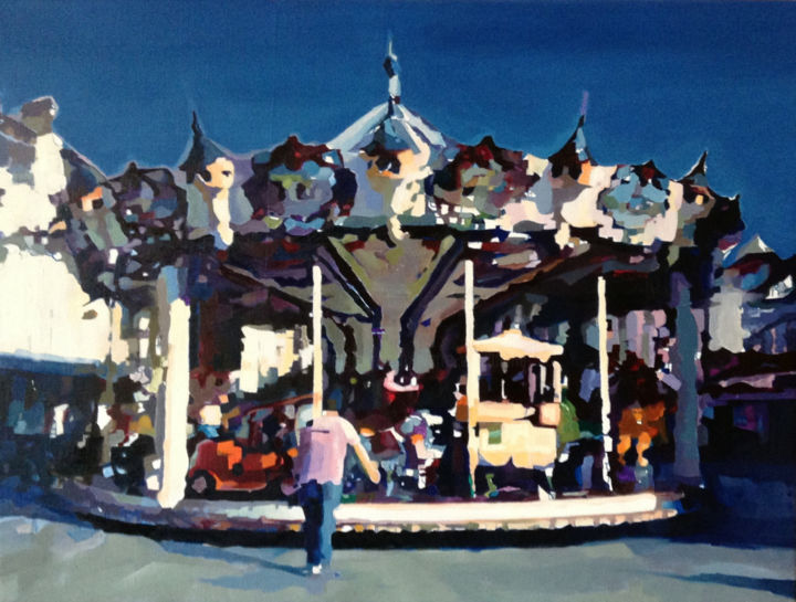 Carrousel 1 - Painting,  31.5x39.4 in, ©2015 by Pierre Wuillaume -                                                                                                                          Figurative, figurative-594