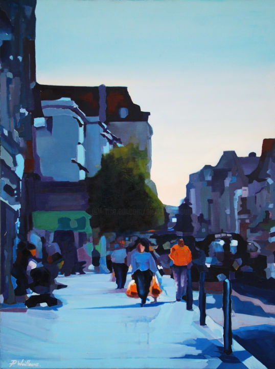 Rue Emile Zola à Troyes - Painting,  31.5x23.6x0.8 in, ©2016 by Pierre Wuillaume -