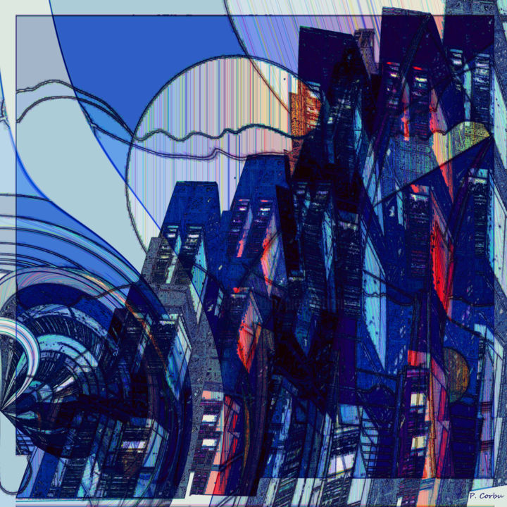 BlueCity - Digital Arts,  23.6x23.6x1.2 in, ©2018 by Pierre Corbu -                                                                                                                                                                          Abstract, abstract-570, Plastic