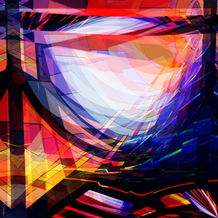 NEW_AGE - Digital Arts,  23.6x23.6x2 in, ©2018 by Pierre Corbu -                                                                                                                                                                                                                                                                      Abstract, abstract-570, Plastic, Architecture, Abstract Art