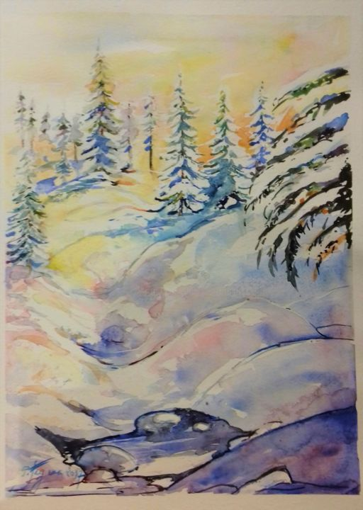 FORET ENNEIGEE - Painting,  40x30 cm ©2017 by Pierre Feyeux -                                                            Modernism, Paper, Mountainscape, Forêt, Neige, Hiver, Sapins