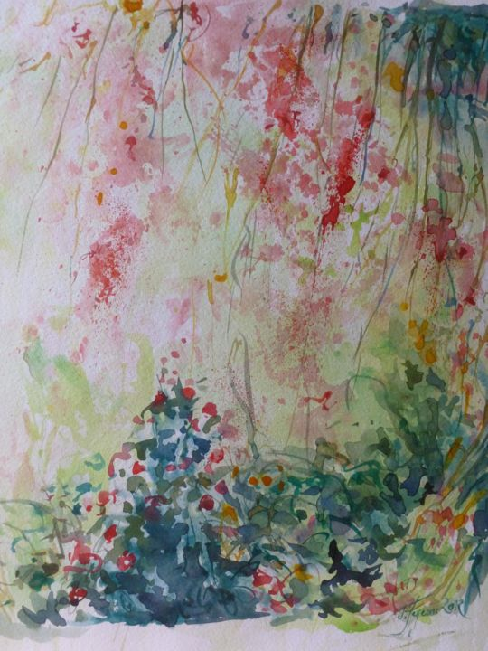 Printemps rose - Painting,  15x12.6 in, ©2013 by Pierre Feyeux -                                                                                                                                                                                                                                                                                                                  Expressionism, expressionism-591, Garden, Printemps, jardin, fleurs