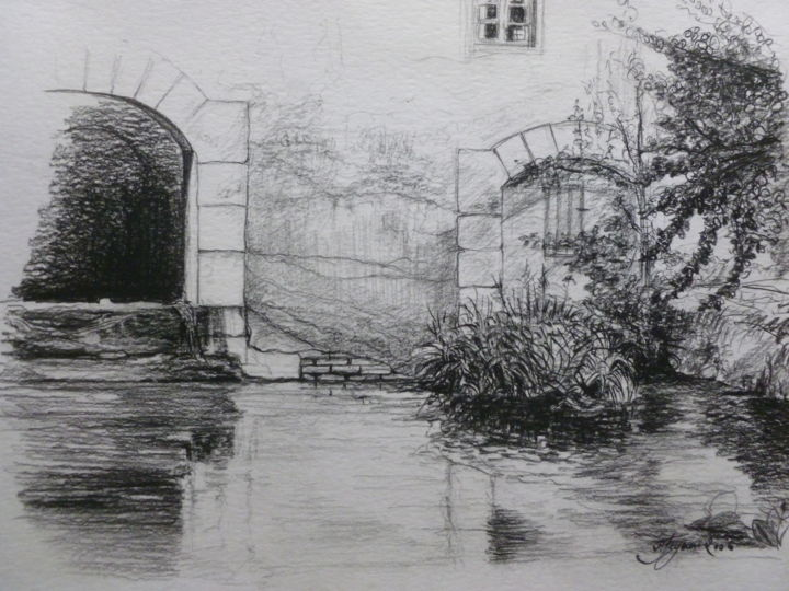 Gour du Moulin Gay (71) - Drawing,  11.8x15.8 in, ©2014 by Pierre Feyeux -                                                                                                                                                                                                                                                                                                                                                                                                              Figurative, figurative-594, Other, Architecture, Moulin, gour, Bresse, eau dormante