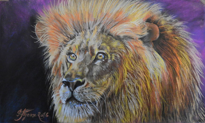 Mon LION - Drawing,  11.8x15.8 in, ©2016 by Pierre Feyeux -                                                              Animals