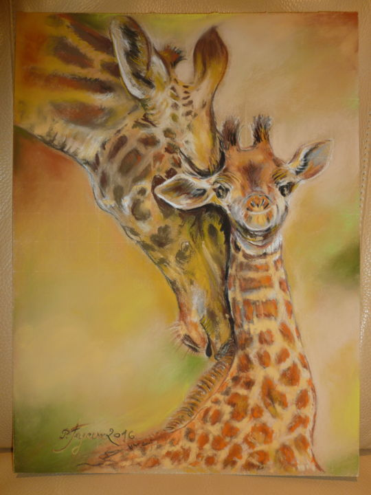 TENDRESSE MATERNELLE - Drawing,  15.8x11.8 in, ©2016 by Pierre Feyeux -                                                                                                                                                                                                                                                  Animals, girafon et sa maman girafe, amour maternel, tendresse, scene animalière