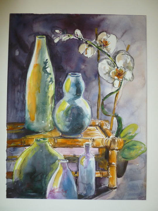 Coin ZEN - Painting,  60x40 cm ©2016 by Pierre Feyeux -                                                            Contemporary painting, Paper, Still life, Orchidée, Table en bambou, Vieilles bouteilles