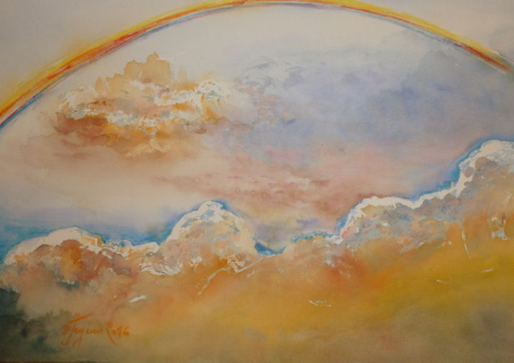 ARC EN CIEL 1 - Painting,  28x32 cm ©2016 by Pierre Feyeux -                                                                                    Figurative Art, Paper, Aerial, Light, Landscape, Ciel, nuages, arc-en-ciel