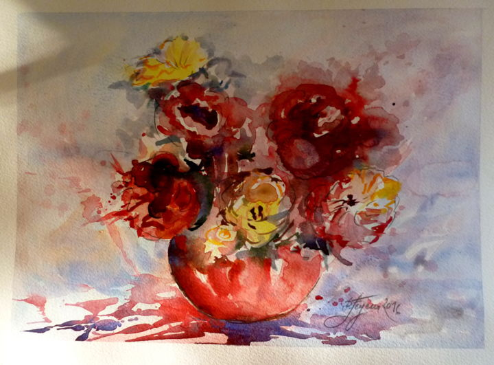 BOUQUET - Painting,  30x40 cm ©2016 by Pierre Feyeux -                                                            Modernism, Paper, Flower, bouquet