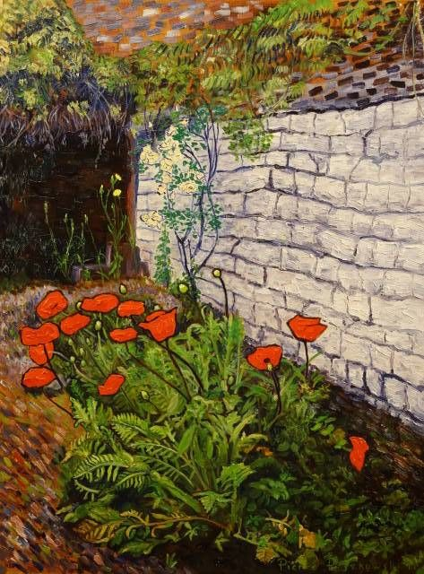 coquelicots - 2 - Painting,  46x61 cm ©2011 by Pierre Paszkowski -