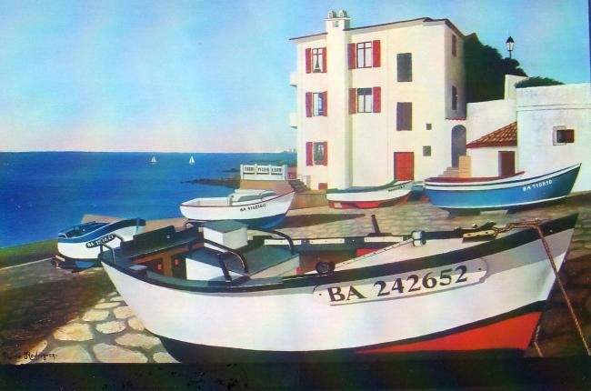 PORT DE GUETHARY - Painting,  61x46 cm ©2009 by Pierre Rodriguez -            BARQUES A GUETHARY