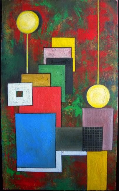 PEAGE - Painting,  54x33 cm ©2010 by Pierre Rodriguez -