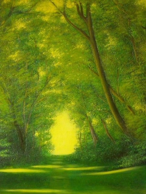 verdure a Guethary - Painting,  45x32 cm ©2011 by Pierre Rodriguez -