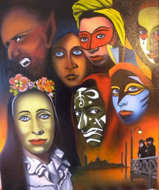 MASCARADE - Painting,  60x50 cm ©2012 by Pierre Rodriguez -
