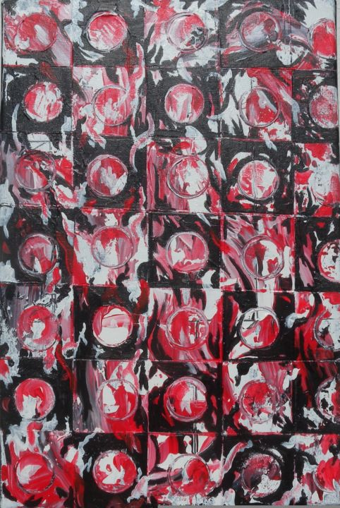 DAMIER - Painting,  42x28 cm ©2013 by Pierre Rodriguez -                        Expressionism