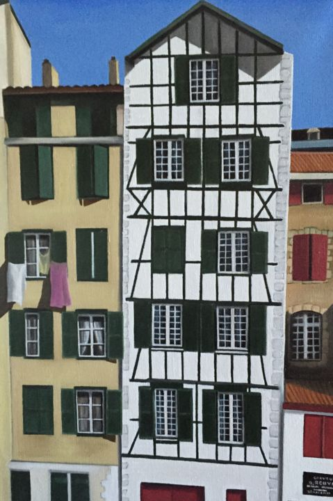 img-0289.jpgVIEILLES MAISONS A BAYONNE - Painting,  55x46 cm ©2015 by Pierre Rodriguez -