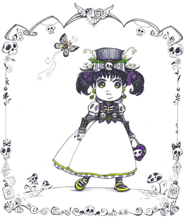 gothic vampire gir - by Pilar Agrelo art Drawing by Gothic