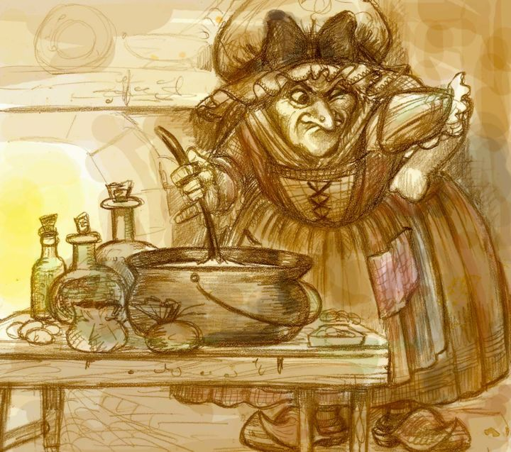 """Drawing titled """"Witch cooking - dra…"""" by Gothic Sweet By Pilar Agrelo, Original Art, Graphite"""