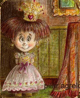"""Drawing titled """"LITTLE GIRL"""" by Gothic Sweet By Pilar Agrelo, Original Art, Other"""