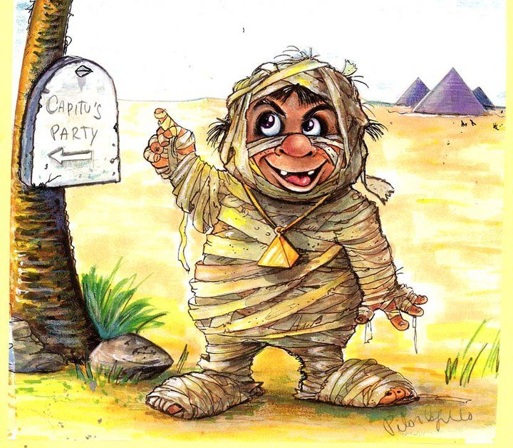 """Drawing titled """"The little mummy"""" by Gothic Sweet By Pilar Agrelo, Original Art, Other"""