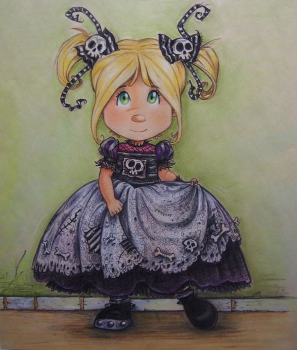 """Drawing titled """"Gothic Little girl"""" by Gothic Sweet By Pilar Agrelo, Original Art, Pastel"""