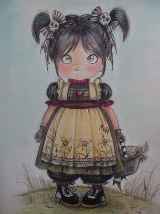 """Drawing titled """"Girl with  funny sk…"""" by Gothic Sweet By Pilar Agrelo, Original Art, Pastel"""