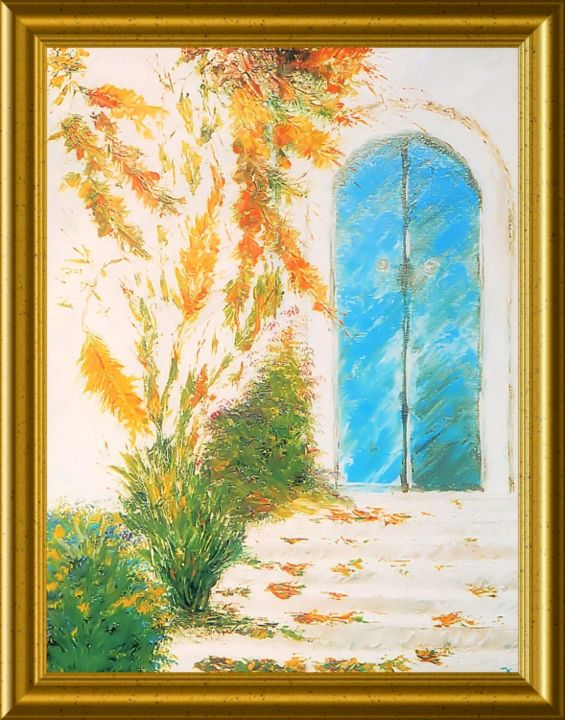PORTE I - Painting,  0.4 in, ©2013 by Pili Gaona -                                                              PAINTURE A L' HUILE