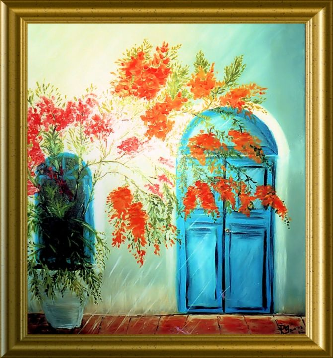 PORTE II - Painting,  0.4 in, ©2013 by Pili Gaona -                                                              PAINTURE A L' HUILE