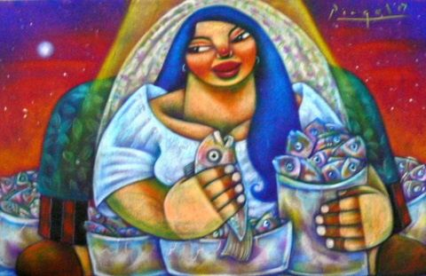 """Painting titled """"fresh fishes"""" by Aljo Pingol, Original Art,"""