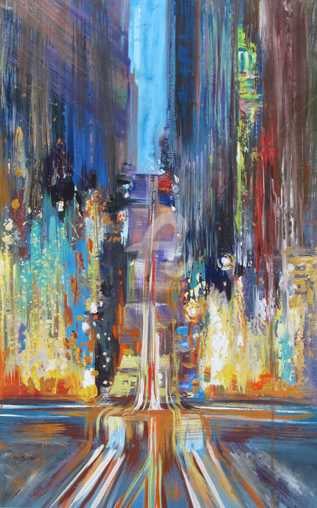 """Painting titled """"dive-into-the-city.…"""" by Elena Penkova, Original Art,"""