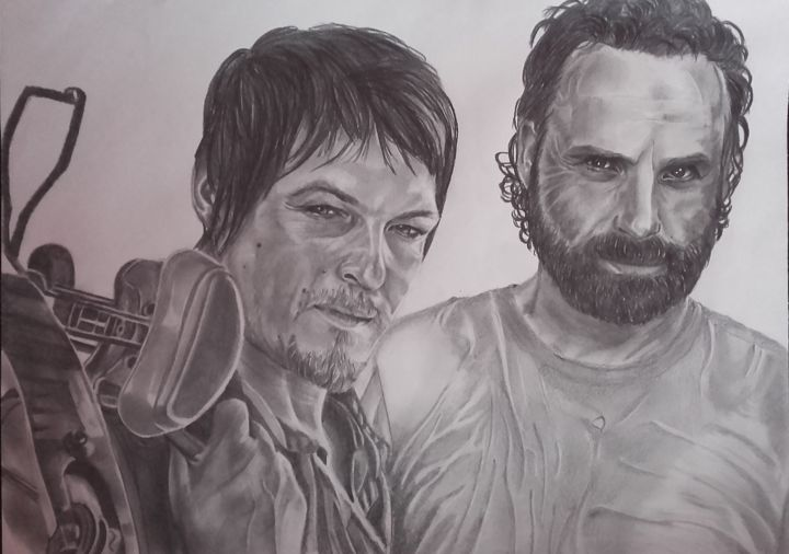 Daryl Et Rick The Walking Dead Drawing By Stephanie Delanoe