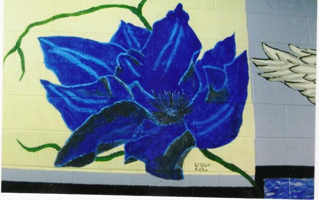 """Painting titled """"Blue Hallway Flower"""" by Andy Rux, Original Art, Oil"""