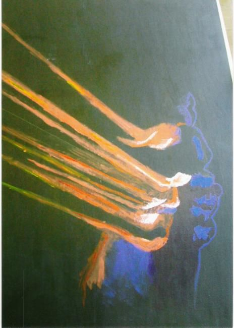 """Painting titled """"Flashface"""" by Andy Rux, Original Art, Oil"""