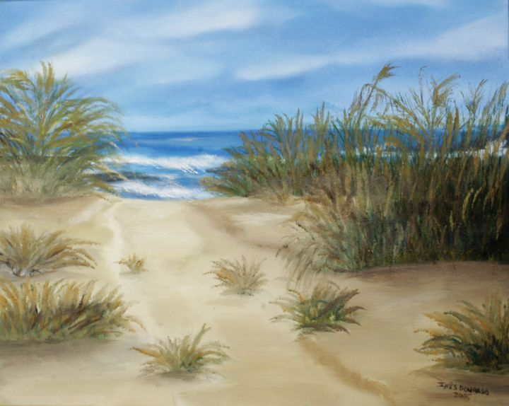 Um caminho para Praia de Alvor (Alvor Beach way, Algarve, Portugal) - Painting,  50x40 cm ©2005 by Inês Dourado -                                            Canvas, Nature, Algarve, Alvor, Portugal, holidays, algarve beaches, natureza, nature, sea, summer, sun, oil paintings, oil canvas, seascapes, ines dourado