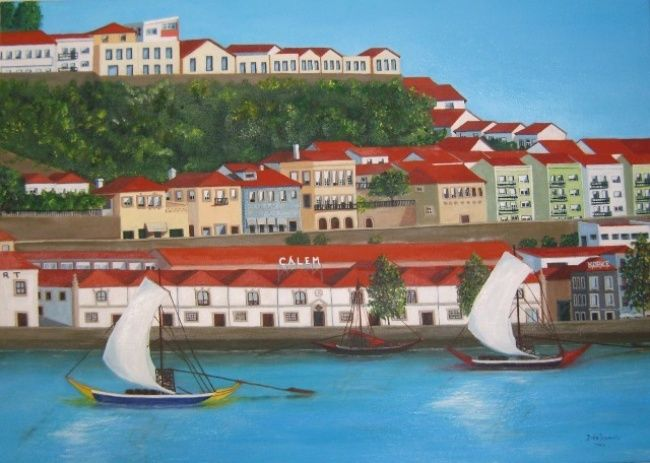 À beira do rio Douro, Vila Nova de Gaia, Porto (At the egde of Douro river, Oporto) - Painting,  70x50 cm ©2012 by Inês Dourado -                                                                                                                                    Figurative Art, Contemporary painting, Realism, Canvas, Architecture, Cities, Colors, Places, Cityscape, Cityscape. Vila Nova de Gaia with Douro river, view from Oporto's city, Oporto, Portugal, Lisbon, Algarve, Braga, Bragança, Calém
