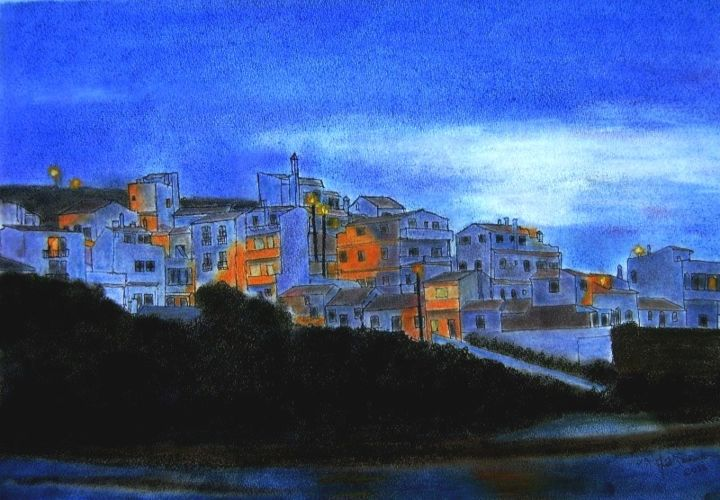 Uma Noite quase Azul (An Almost Blue Night),Odeceixe,Algarve, Portugal.jpg - ©  Portugal, Algarve, Odeceixe, cityscapes, Albufeira, Lagos, holidays, pastel paintings, Alvor, acrylic paintings, Carvoeiro Obras de arte  on-line