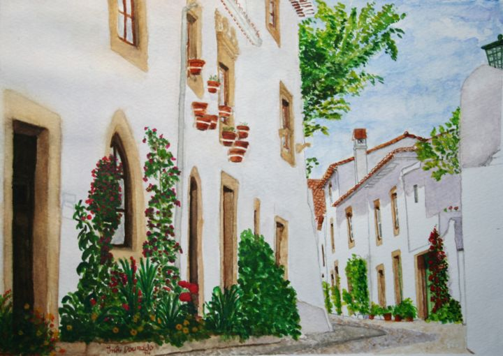 As cores de Marvão (The Colors of Marvão, Alentejo, South of Portugal) - Pintura,  19x27 cm ©2014 por Inês Dourado -                                                                                                            Realismo, Arte figurativa, Pintura contemporânea, Papel, Lugares, Arquitetura, Paisagem urbana, Portugal, Alentejo, Marvão, Lisboa, Medieval, Aguarelas, watercolors, realismo, paisagens urbanas, cityscapes, landscapes